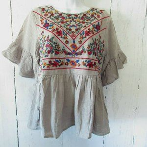 Umgee Top Floral Embroidered Ruffle Boho Peasant